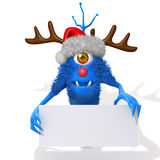 Cute Monster Christmas with white panel. 3d illustration  isolated over white background Royalty Free Stock Image