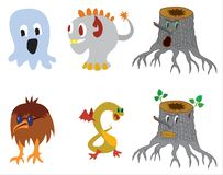 Cute monster color character funny design elements royalty free illustration