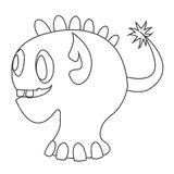 Cute monster contour for coloring vector illustration