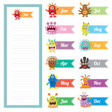 Cute Monster diary memo card Royalty Free Stock Photos