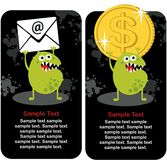 Cute monster with dollar coin and e-mail. Stock Photos