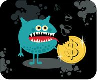 Cute monster with dollar coin. Stock Photography