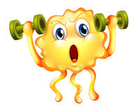 A cute monster exercising with dumbbells Stock Image