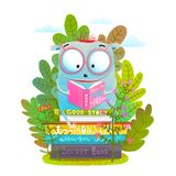 Cute Monster in Eyeglasses Reading Book Royalty Free Stock Photography