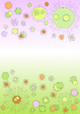 Cute monster flowers floating. Cute monster, virus or dandelion flowers invitation card with pink and green tones background Royalty Free Stock Photo