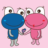 Cute monster frog bear pair love Royalty Free Stock Photo