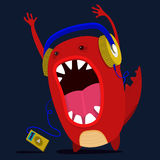 Cute monster graphic. Cute monster listen to music graphic. Vector Stock Photography