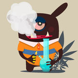 Cute monster graphic, smokes marijuana Royalty Free Stock Photography