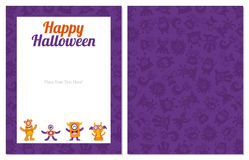 Cute monster halloween card Royalty Free Stock Image