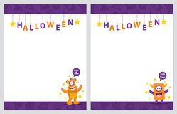 Cute monster halloween card Stock Photo