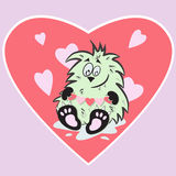 Cute monster with hearts Royalty Free Stock Photo