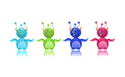 Cute monster icon set with three eyes and horn Royalty Free Stock Photos