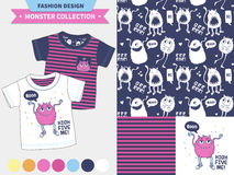 Cute monster  illustration. Monster collection. Vector fashion design set for baby and kids wear, artwork  and seamless pattern Royalty Free Stock Photography