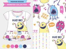 Cute monster  illustration. Monster collection. Vector fashion design set for baby and kids wear, artwork  and seamless pattern Stock Photo