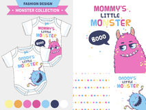 Cute monster  illustration. Monster collection. Vector fashion design set for baby and kids wear, artwork  and seamless pattern Stock Photos