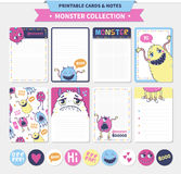 Cute monster  illustration. Monster collection. Vector printable cards and notes Stock Photos