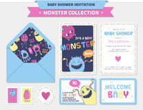 Cute monster  illustration. Monster illustration. Vector baby shower set with invitations, cards and  stickers etc Royalty Free Stock Photography