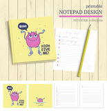 Cute monster  illustration. Vector printable notepad design cover and papers with cartoon monsters Stock Photography