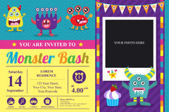 Cute Monster Invitation Birthday Card Royalty Free Stock Images