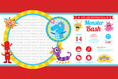 Cute Monster Invitation Birthday Card Stock Photo