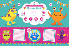 Cute Monster Invitation Birthday Card Stock Photos