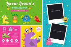 Cute Monster Invitation Birthday Card Royalty Free Stock Photo