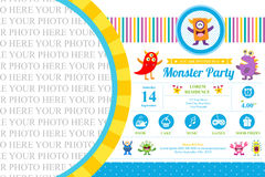 Cute Monster Invitation Birthday Card Stock Image