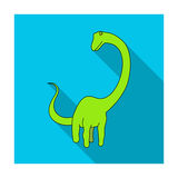 Cute Monster kids logo monster .A green dinosaur in an amusement park. Jurassic Park.Amusement park single icon in flat Royalty Free Stock Images