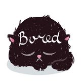 Cute monster kitten with text. Vector illustration for t shirt and print design. Poster, card, label. Bored Royalty Free Stock Images