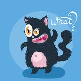 Cute monster kitten with text. Vector illustration for t shirt and print design. Poster, card, label. What Stock Photo