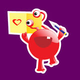 Cute monster in love. Holding card with heart drawing. Paper cut style royalty free illustration