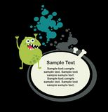 Cute monster microbe and banner with bone. Royalty Free Stock Photos