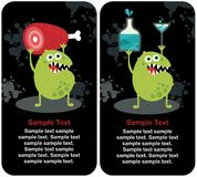 Cute monster microbe and meat with drink. Royalty Free Stock Image