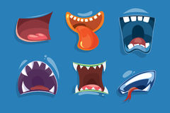Cute monster mouths vector set. Monster expression funny, tongue and monster mouths with teeth illustration Stock Image