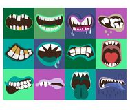 Cute monster mouths vector set. Monster expression funny, tongue and monster mouths with teeth illustration stock illustration