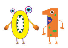 Cute Monster Numbers 0 and 1 For Kids and Children vector illustration