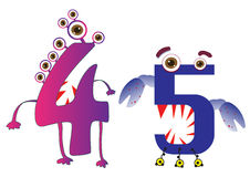 Cute Monster Numbers 4 and 5 For Kids and Children Stock Image