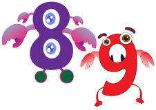 Cute Monster Numbers 8 and 9 For Kids and Children Stock Images