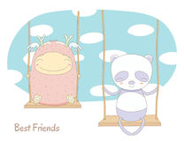 Cute monster and panda on a swing Royalty Free Stock Photos
