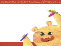 Cute monster with pencils stock photos