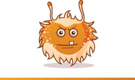 Cute monster raised hands, angry and one tooth showing Royalty Free Stock Photography
