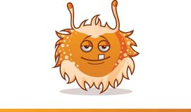 Cute monster raised hands, smiling and one tooth showing Royalty Free Stock Photo