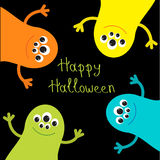 Cute monster roundelay set. Happy Halloween card. Flat design. Stock Images