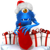 Cute Monster Santa Claus Stock Photo