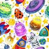 Cute monster seamless pattern. watercolor cartoon space illustration. rocket. Flying saucer. alien Royalty Free Stock Photos