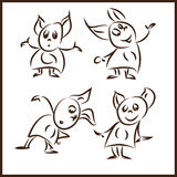 Cute monster set. Vector images funny mouse monster in various poses Stock Image