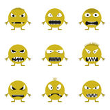 Cute monster set. Cute angry evil monster set. Wicked face set Royalty Free Stock Photo