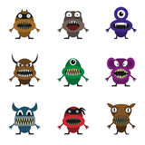 Cute monster set. For animation and comics. Humor comic angry animals Stock Photo