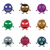 Cute monster set. For animation and comics. Humor comic angry animals Royalty Free Stock Photos