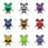 Cute monster set. For animation and comics. Humor comic angry mouse collection Royalty Free Stock Photography